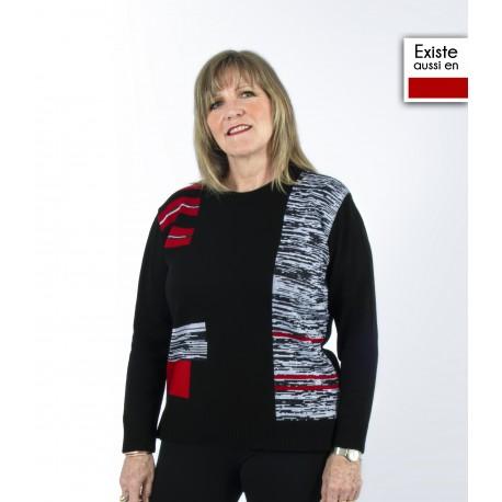 Pull femme senior PARIS tricolore