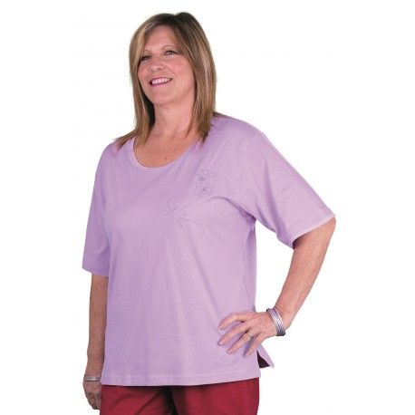 THIYA violet T shirt femme senior